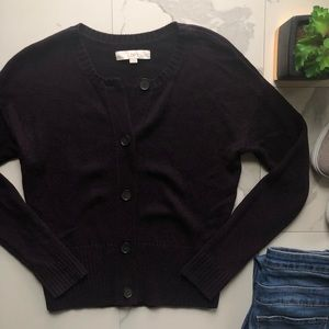 Ann Taylor LOFT Dark Purple Knit Cardigan